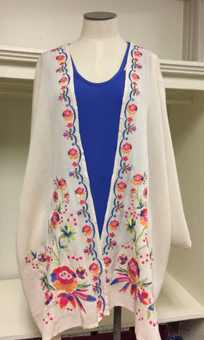 Bright and Beautiful Floral Embroidered Cardigan