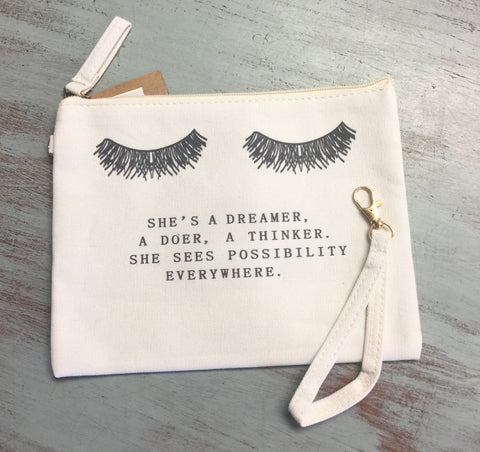 She's A Dreamer Makeup Bag/Small Clutch