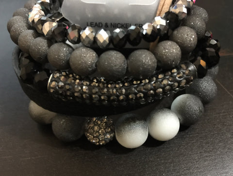Black/Hematite Stretch Bracelet Set