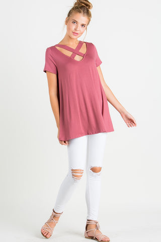 Modal Spicy Ginger Cross Detail Top