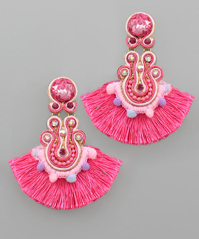 Rhinestone Fringe Statement Earrings