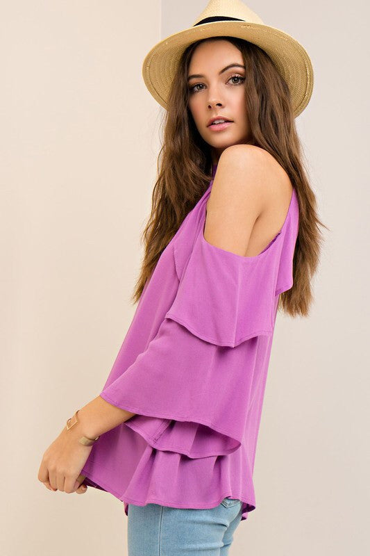 Orchid Ruffle Sleeve Cold Shoulder Top
