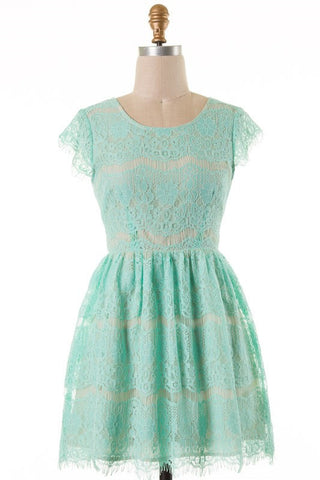 Mint Cap Sleeve Lace Dress