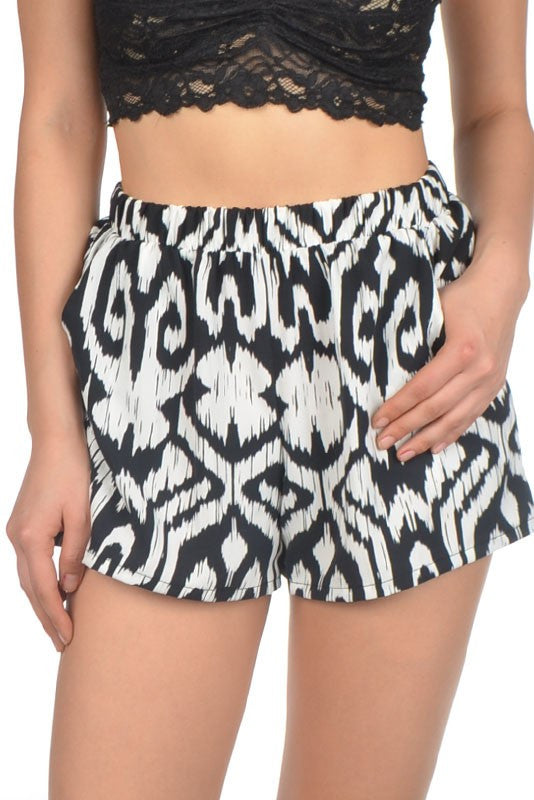 Black Tribal Print Shorts