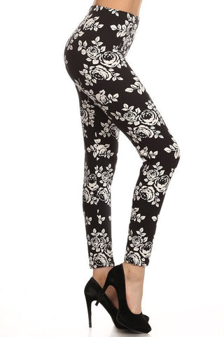 Black/White Floral Print Leggings