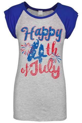 "Royal Cap Sleeve ""Happy 4th of July"" Tee"