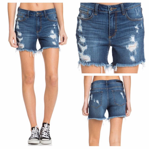 Perfectly Frayed Denim Shorts