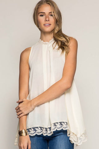 Cream Sleeveless High Neck Lace Trim Tank