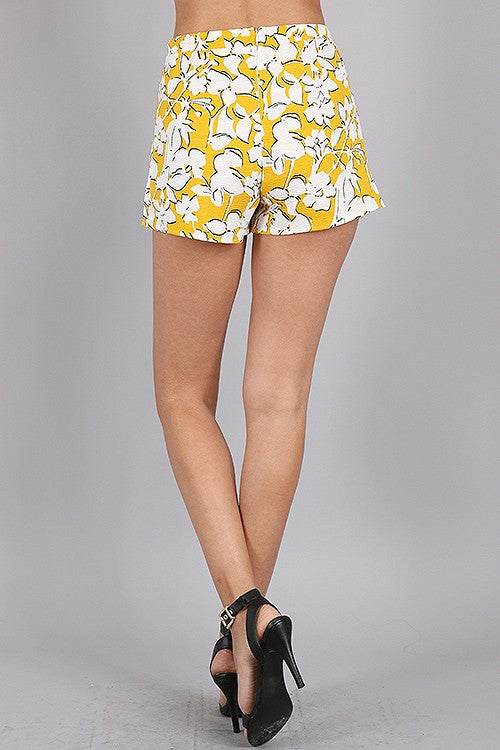 Yellow Gold Flower Shorts
