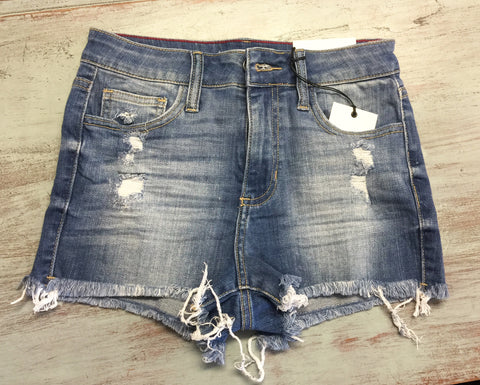 Medium Wash High Rise Fray Denim Shorts