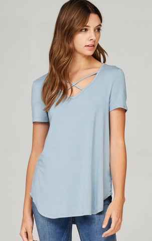 Chambray Modal Criss Cross Top