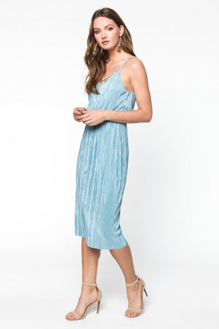 Bashful in Blue Crepe Dress