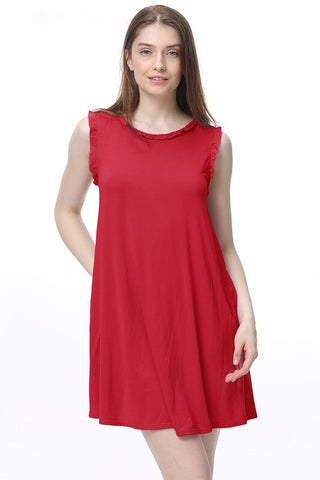 American Red PIKO Ruffle Neck Dress