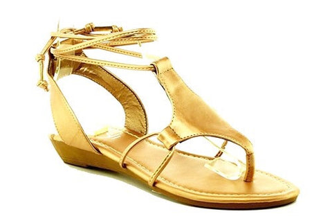 Moe Rose Gold Ankle Wrap Sandals