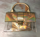 Gold Holo Top Handle Clear Purse