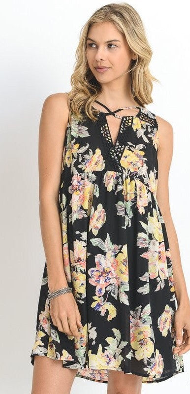 Black Floral Crochet Strap Dress