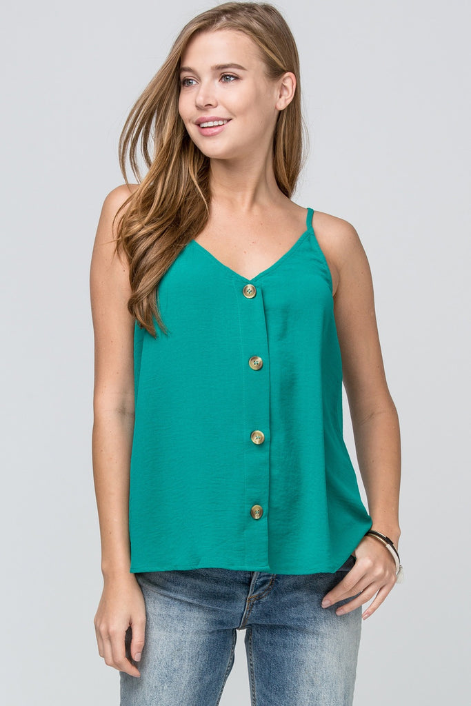 Button Detail Green Tank
