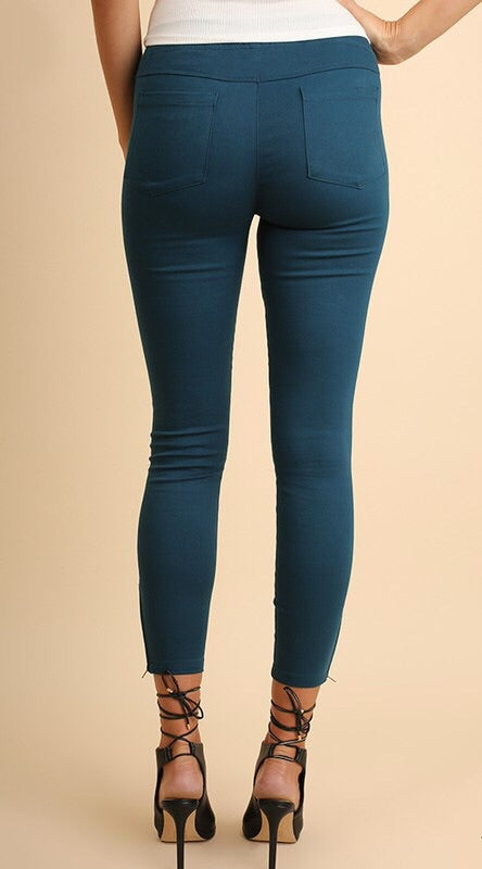 Dark Teal Pintuck Moto Jeggings