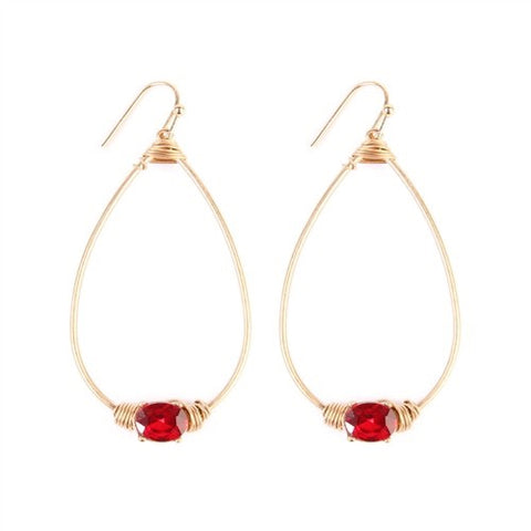 Oval Shaped Red Rhinestone Earrings