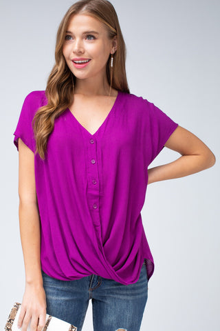 Bright Orchid V-Neck Twist Top
