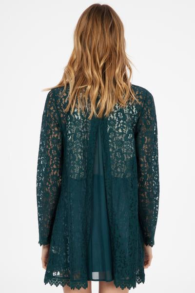 Hunter Green Lace Cardigan
