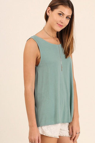 Dusty Mint Strappy Back Detail Top