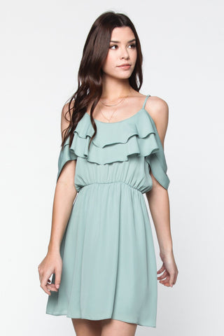 Antique Seafoam Ruffle Cold Shoulder Dress