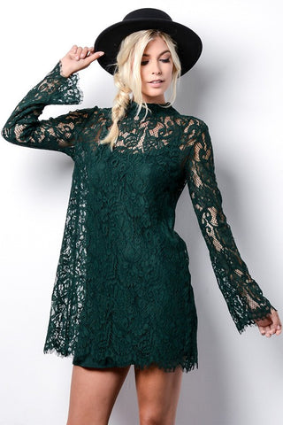 Carriage Green High Neck Lace Dress
