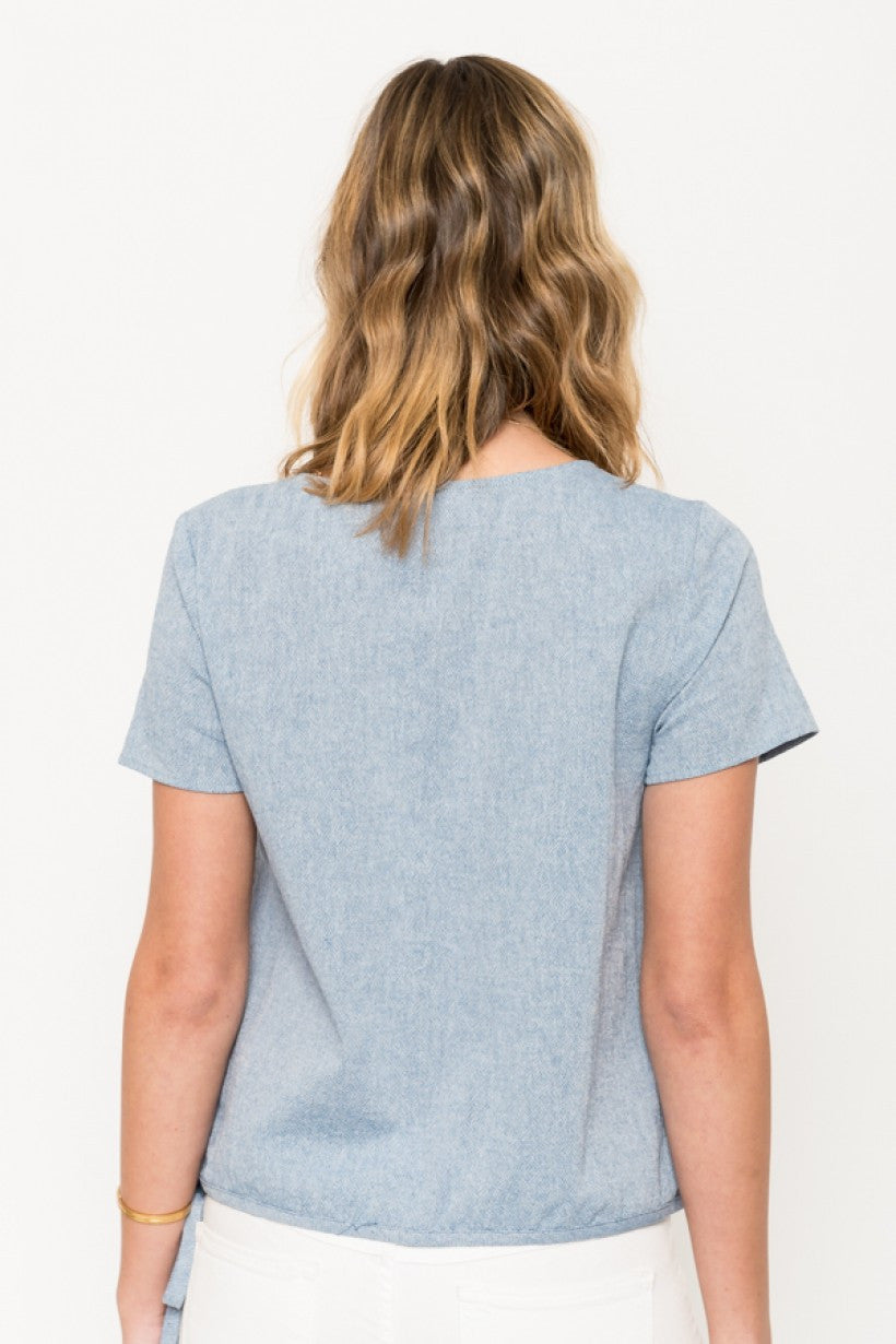 Chambray Side Tie Shirt