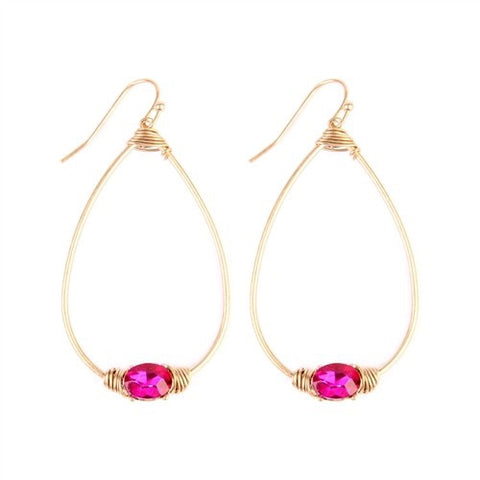 Oval Shaped Hot Pink Rhinestone Earrings