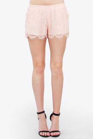 Light Peach Scallop Lace Shorts