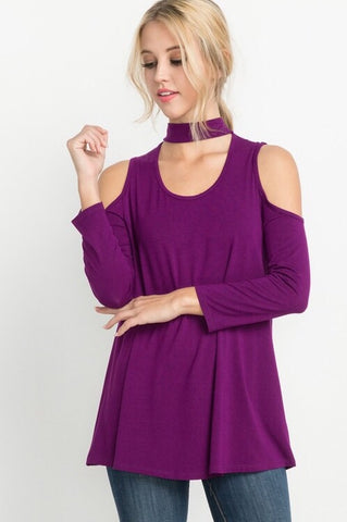 8d65d234fbba72 Dark Magenta Bamboo Cold Shoulder Top – Hazel and Bliss Boutique