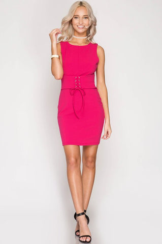 Hot Pink Tie Waist Dress