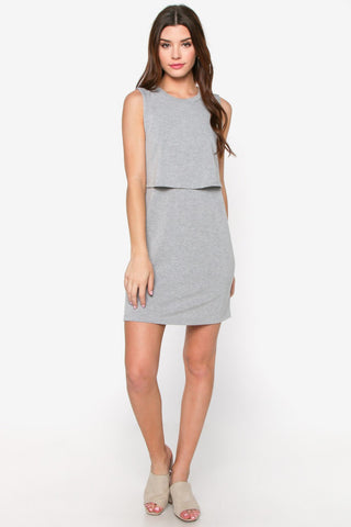 Grey Knit Overlay Dress