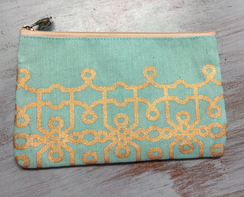 Florence Aqua/Gold Cosmetic Bag
