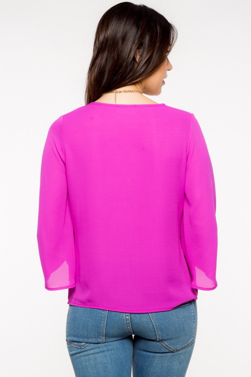 Bright Violet Bell Sleeve Top