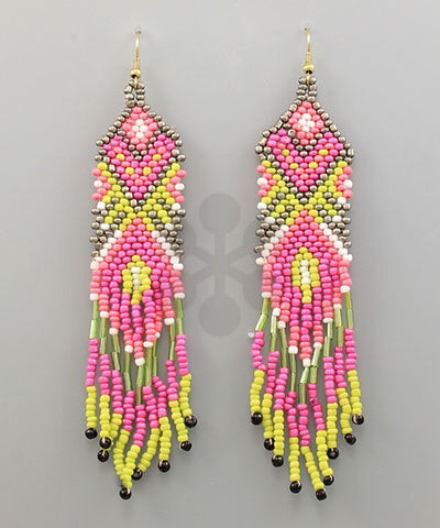 Fancy Fringe Fuchsia Beaded Earrings