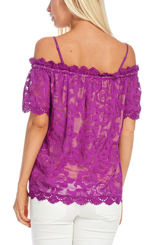Sparkling Violet Lace Scallop Cold Shoulder Top