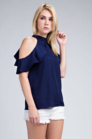 Navy Ruffle Sleeve Cold Shoulder Top