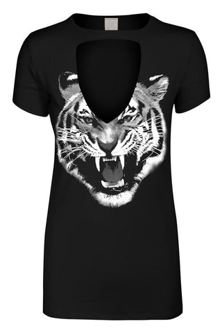 Black Fierce Tiger Keyhole Tee