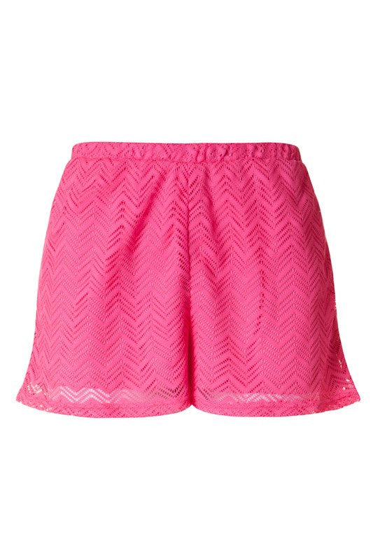 Hot Pink Chevron Lace Shorts
