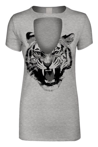 Grey Fierce Tiger Keyhole Tee