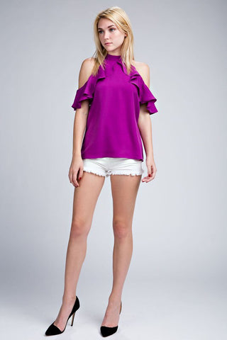Purple Ruffle Cold Shoulder Top