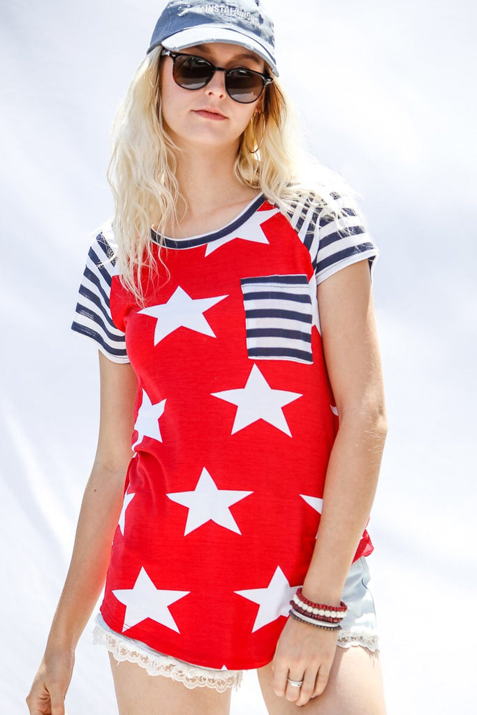 Red, White and Navy Stripe Top
