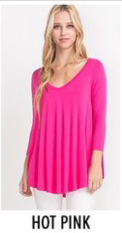 Hot Pink Bamboo V-Neck Top