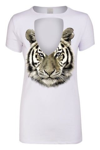 White Metallic Tiger Keyhole Tee