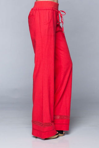 Dark Coral Detail Bottom Linen Pants