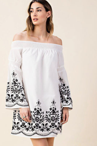 In the Spotlight Black/White Off the Shoulder Dress