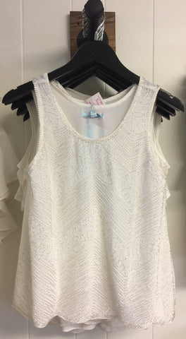 Cream Chiffon Beaded Tank