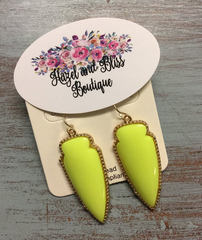 Neon Yellow Arrow Drop Earrings